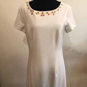 Cream dress with gold Embroidery